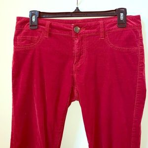 CAbi Red Corduroy Ankle Cord Skinny Pants Size 4